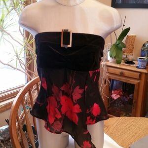 Black velvet strapless top